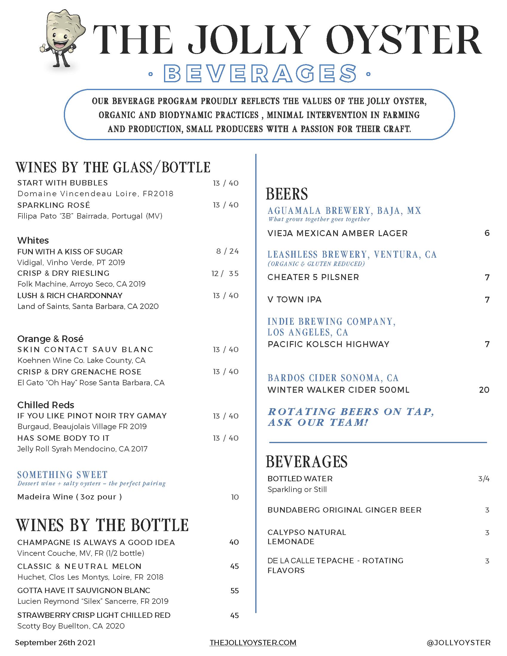 Culver City Beverages Menu March 2021